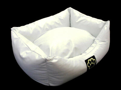 Small White Faux Leather Dog Bed S Pet Bed Dogbed Petbed **Easy Wipe Clean**