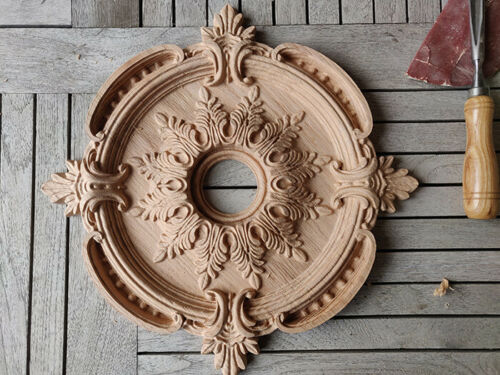 Ceiling Medallion Baroque Vintage Wood Carved Rosette Architecture Mold Ornament