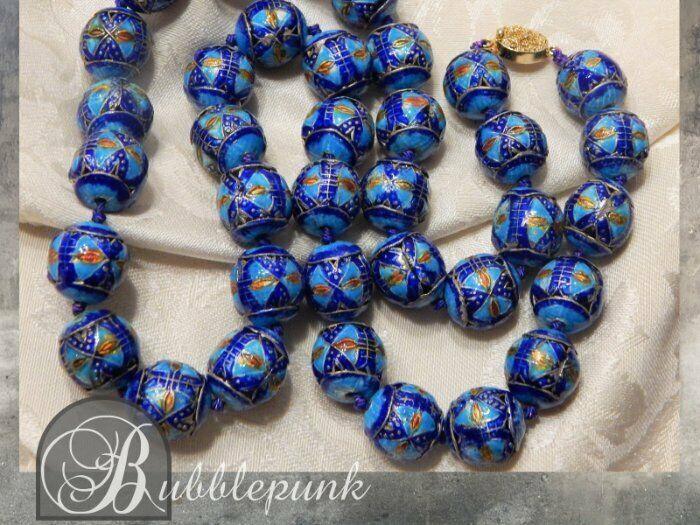 Antique Chinese Cloisonne Champleve Enamel Vibrant Blue Bead Necklace ~ Estate