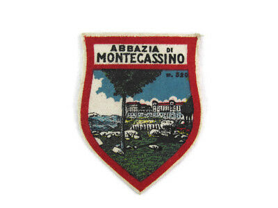 Vintage 1962 Italy Abbazia De Montecassino Shield Patch Souvenir Travel