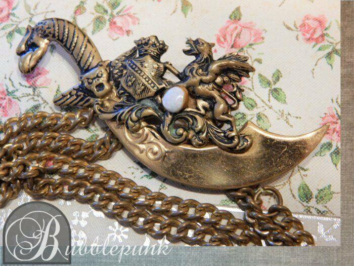 Antique Vintage Heraldic Dragon Scabbard Sword Swag Pin w/Opal ~ Estate Jewelry