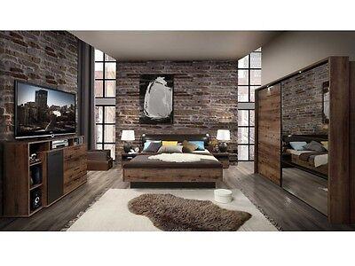 Schlafzimmer Jacky komplett Bett Fußbank Kleiderschrank Beleuchtung Kommode10214