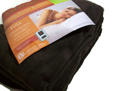 Biddeford Electric Heated Warming Plush Chocolate Brown Full Blanket ONE Control