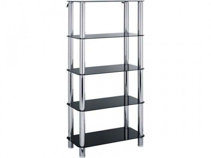 Hygena Black Glass Bookcase Shelf Shelving