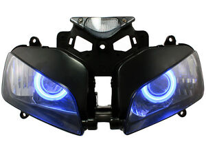 Fully-Motorcycle-Headlight-W-HID-Blue-Angel-Demon-Eyes-For-04-07-Honda-CBR1000RR