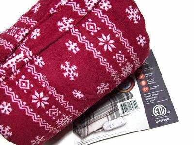 Biddeford Heated Electric Warming Micro Plush Fair Isle Throw Blanket New