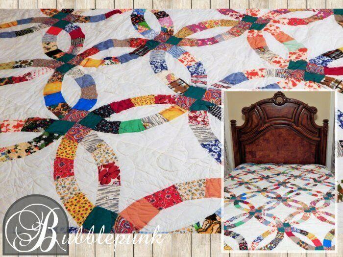 Antique Cotton Calico Prints Vintage Wedding Ring Pattern Quilt 95x72 ~ Estate
