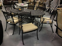 VARIOUS CAST ALUMINUM AND WICKER OUTDOOR DINING SETS- WOW!!