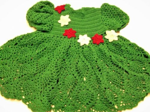 Crochet Baby Dress green with white and red flowers - new born baby dress,