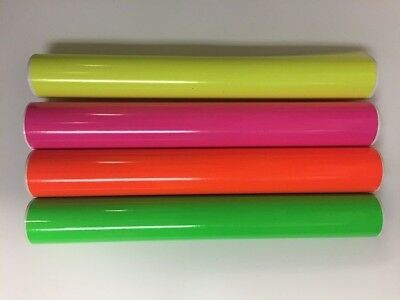 4 Rolls Fluorescent Vinyl Yellow Pink Green Orange 24 X 5 Feet Total 20 Feeet