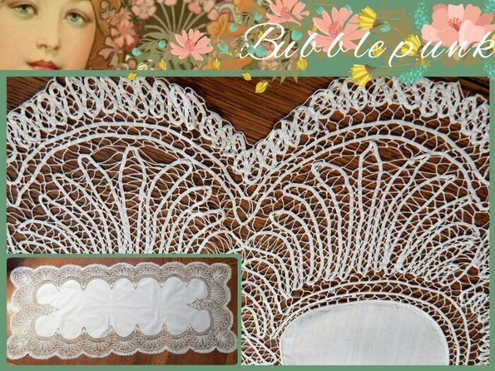 Fabulous Antique B&B Cottage Farmhouse Chic Linen Tape Bobbin Lace Runner Scarf