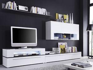 Wohnzimmermöbel weiß matt  Wohnwand weiss anthrazit, 312x190x47cm, Schrankwand ...