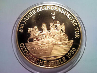 Gold Münze Medaille - Olympische Spiele 1936 - 200 Jahre Brandenburger Tor