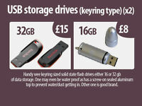 Pen Hard Drive Keyrings (flash drives) x2 (16 + 32 gb)