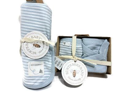 Burts Bees Organic Kimono Pant Set 3-6 Blue Striped Blanket Baby Boy Outfit New