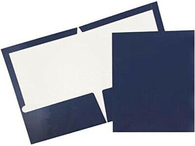 Oxford 51743 Twin Pocket Folder Laminated Navy Pack Of 25