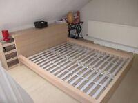 IKEA MALM Oak veneer Bed frame + luröy slate base - European Double size: 140x200cm