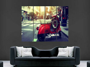 RED VESPA CLASSIC MOTOBIKE SCOOTER   POSTER WALL ART PICTURE  LARGE GIANT