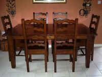 SOLID IRISH COAST EXTENSION DINING TABLE 72/96-AFRICAN DUSK with 6 chairs