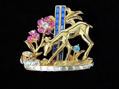 Coro Design Deer In The Forest Dimensional Crystal Rhinetone Brooch Large Pin