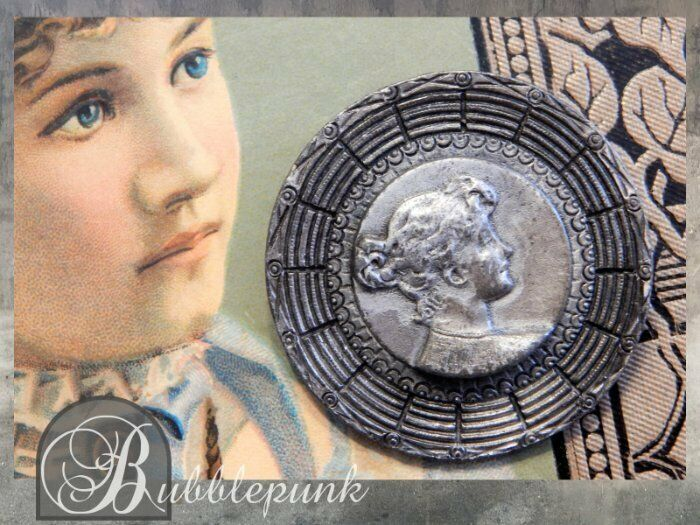 Antique Victorian Art Nouveau Pewter Relief Cameo Figural Pin ~ Estate Jewelry