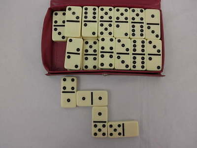 VTG Cardinal Domino Complete Set 28 Black Dots Original Red Vinyl Storage Case ()