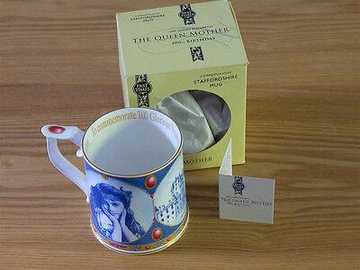 Fine Bone China Mug HM Queen Elizabeth Queen Mother 100th Birthday Staffordshire