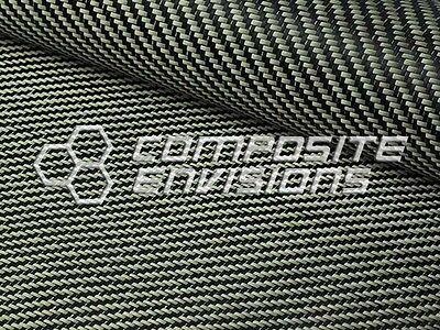 Carvlar Carbon Fiber/Black Kevlar Fabric 2x2 Twill 50