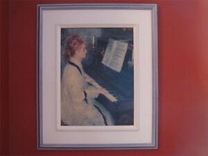 Cadre d'une femme au piano pour décoration intérieure