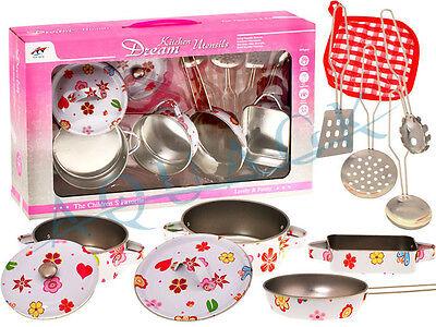 Küche Geschirr Kochzubehör Blumen topf Kinderküche Kochtopf Töpfe 9 tlg. NEU