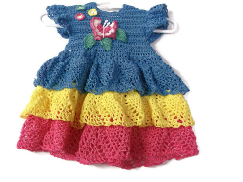 Baby Crochet Lace Dress , Reborn doll, new born, Handmade Blue, yellow and pink
