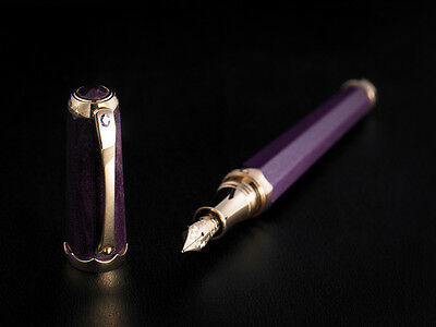 "Montegrappa 18K Rose Gold ""Piccola Gemma"" Sapphire Fountain Pen M  F. ISPGC3RL"
