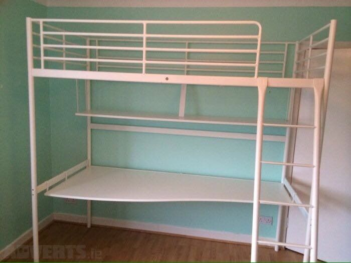 Ikea Tromso Silver Double Loft Bed With Desk Shelf And