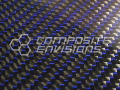 Carbon Fiber Panel Made With Kevlar Blue .012.3mm 2x2 Twill-12x48