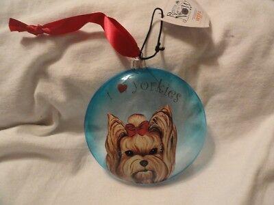 Yorkshire Terrier Christmas Ornament Sun Catcher I heart love Yorkies ()