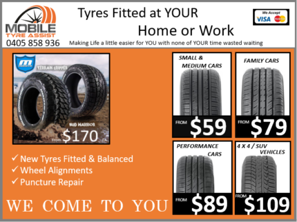 Tyres Fitted at Home or Work Mobie Service Gold Coast to Brisbane