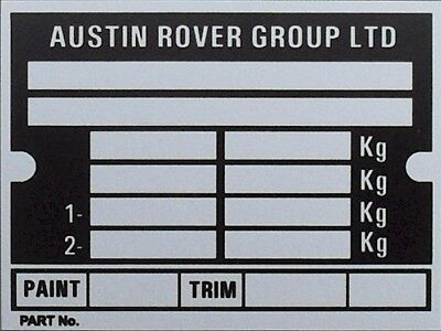 AUSTIN ROVER GROUP MORRIS BMC ID LAND ROVER ALL BLANK VIN CHASSIS PLATES