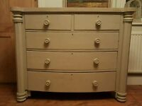 Large Painted antique chest of drawers ( free local delivery)
