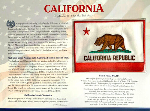 CALIFORNIA Willabee & Ward STATE FLAG PATCH INFO CARD ~ United States Collection