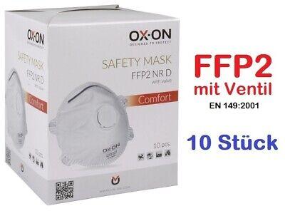 10 x Atemschutzmaske FFP2 mit Ventil von OX-ON® Labor Viren Schimmel OVP PSA CE
