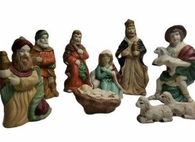 Vintage Trim A Home 9 Porcelain Nativity Figurines Kmart Hand Painted Christmas