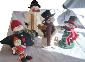 5 Fabric Winter Holiday Snowman Christmas Decorations
