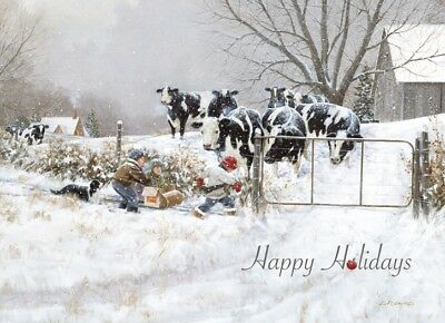 Winter Dairy Cow Farm Boys Sleigh - Box Of 18 Christmas Cards By Lpg Greetings