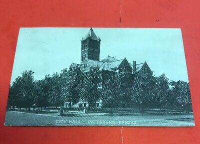 Af540 Antique Postcard City Hall Pittsburg Kansas