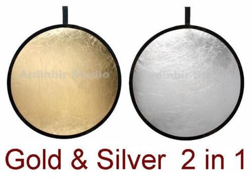 """43"""" 110cm 2 in 1 Gold Silver Collapsible Reflector Disc"""