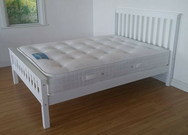Dulux White Double King Size Wooden Bed Mattress Double Single