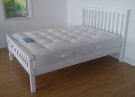 Solid, Snow White, Double, king size, Wooden Bed, sprung, Mattress, Small Double,