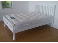 Solid, Pure White, Double, king size, White, Wooden Bed, with spring, Mattress, Small Double,