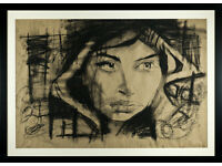 LUCINDA LYONS - 'ATHENE' - LARGE ORIGINAL CHARCOAL DRAWING/PAINTING - FRAMED (picture)