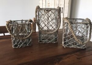 Pier 1 Imports Beach Glass Candle Holders - Set of 3